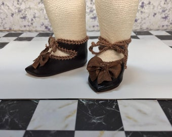 """Leather doll shoes 6,5 cm  -  2  1/2  """"  French style for an antique doll dark brown with brown bowties."""