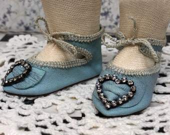 """Leather doll shoes 6 cm  -  2  3\8  """"  French style for an antique doll sky blue with strass stones ."""