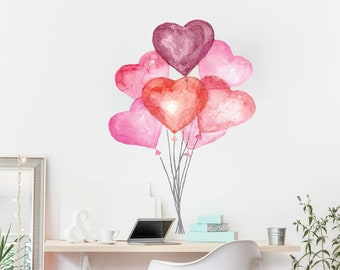 Watercolor Heart Balloons Wall Decor Bunch Of Vinyl Art Colorful Home Lovely Design For Girls Room Big Hearts CG987
