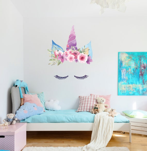 Watercolor Flowers Wall Decoration Unicorn Wall Decal Horn And Flowers Vinyl Design Nursery Decor Bordeaux Colors Girl Room Mural CG1671