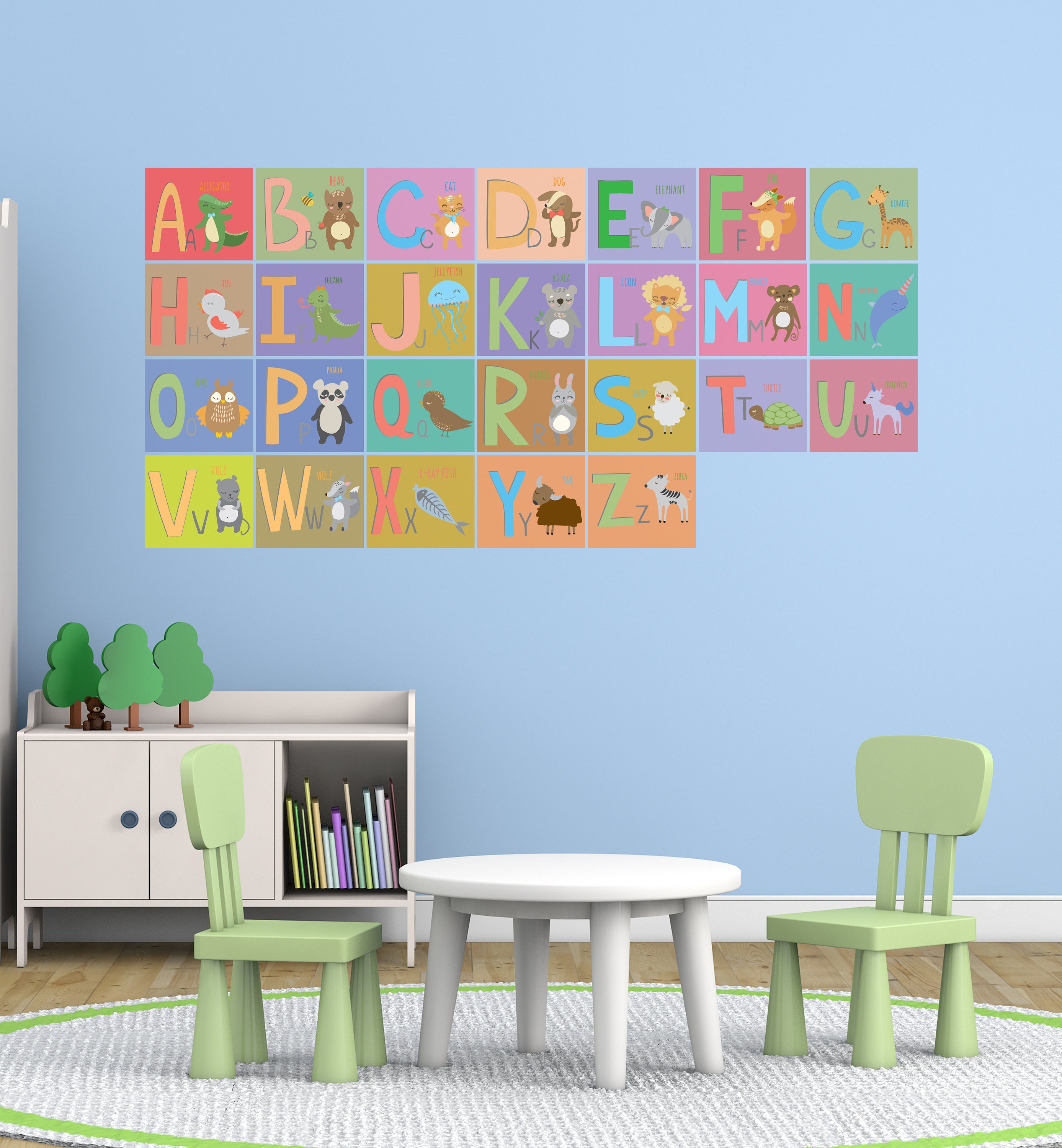 Home office colorful girl Feng Shui 50 Etsy Alphabet Wall Decal Colorful Abc Vinyl Art Az Animals Etsy