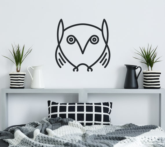 Owl Wall Decal Wise Night Bird Black Vinyl Design Simple Lines Wall Art Sticker Decoration Black Design For Any Home Room Cg958