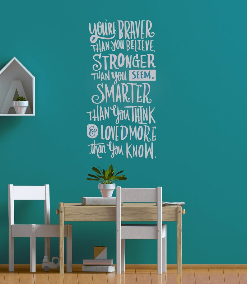 You/'re Braver Than You Believe.. Wall Quote CG1510 School Decor Inspirational Text for Kids Wall Decal Quote Silver Vinyl Design Home