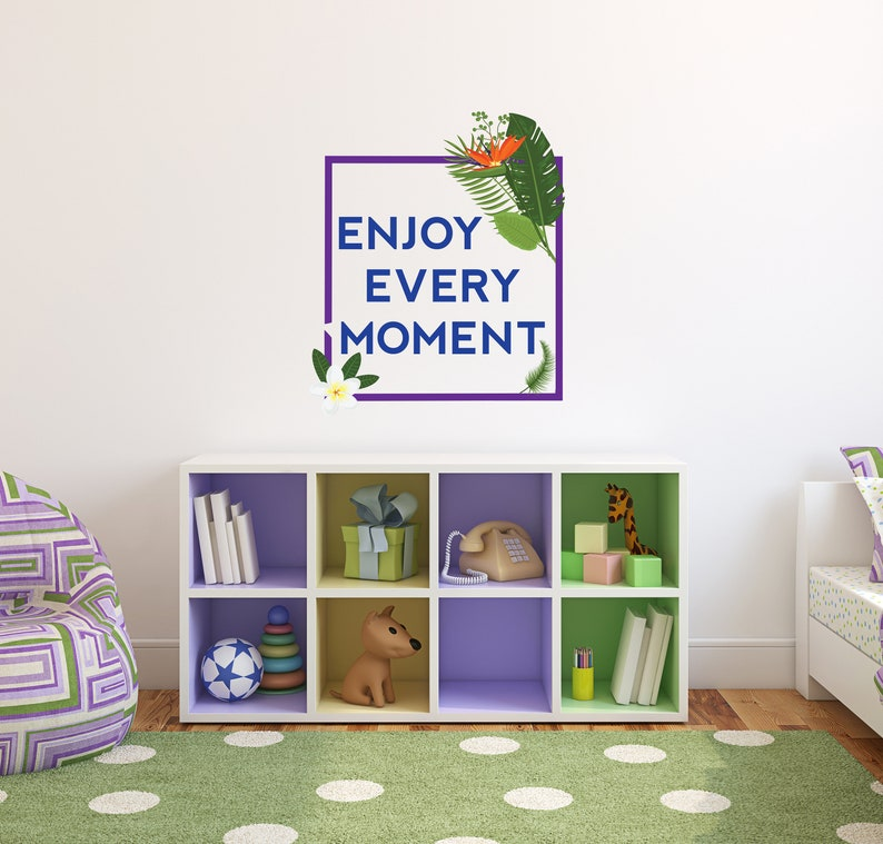 Enjoy Every Moment Botanical Leaves Quote Wall Decal Big Green Leaf For Home Any Room Decoration CG668 Flower With Saying Vinyl Design