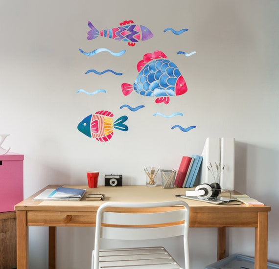 Fish Wall Decal Hand Painted Like Colorful Fishes Big Mural Sticker Watercolor Design Home Decoration Ocean Life Wall Design CG1049