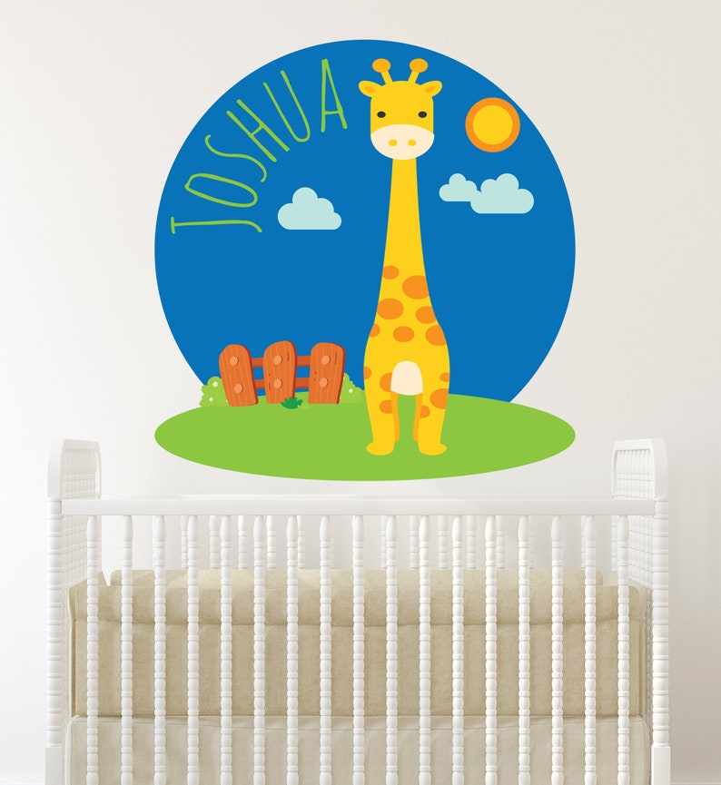 Nursery Vinyl Design Boy Personalized Decor Children Room Decoration Yellow Giraffe Wall Sticker Giraffe Wall Decal Safari Wall Decor