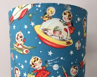 Retro Rocket Rascals Fabric Drum Lampshade
