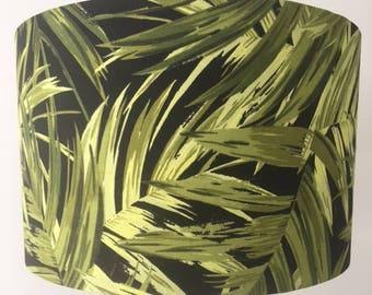 Retro Tropical Fern Fabric Drum Lampshade