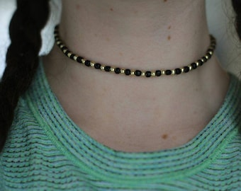 Black and Gold Striped Choker
