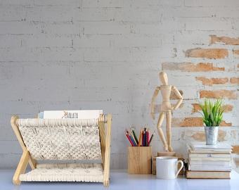 Macrame Magazine Holder,Pre Assembled Boho Room Decor, Storage Basket Rack for Books, Mail, Remote, Desk Organizer, Home Office, Nursery.