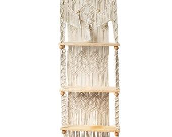 Macrame Rope Hanging 3-Tier Floating Wall Shelves for Bedroom, Bathroom, Nursery, Boho Wood Shelves, Plant Shelf, Rustic Wood Picture Shelf.