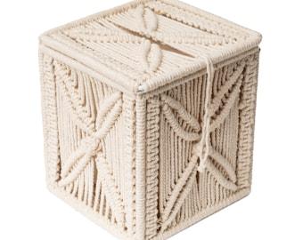 Macrame Square Tissue Box Cover,Boho Tissue Holder, Napkin Organizer for Bathroom, Bedroom, Home office, Living Room, and Home Decor.