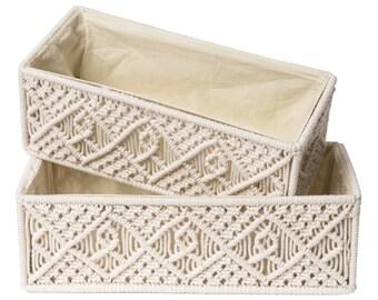 Macrame Storage Baskets, Decorative Bins, Woven Boho Basket Box Organizers for Bathroom, Toilet Paper Holder, Bedroom, Nursery, Set of 2