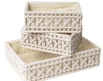 Macrame Storage Baskets, Decorative Bins, Woven Organizers for Bathroom, Dorm room ,Baby Nursery, Home Office Organization Set of 3