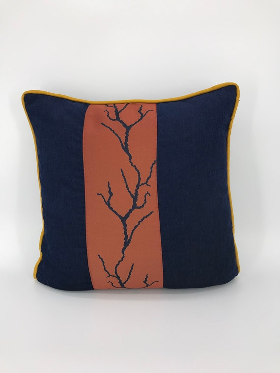 Blue chenille pillow cover 20x20 burnt