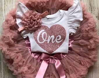 9fd8d0812 Rose Gold First Birthday Outfit - Vintage Pink One - Baby Girl Birthday  Outfit - Cake Smash - Glitter Heart - 2nd 3rd 4th 5th 6th Birthday