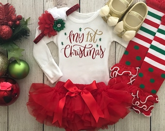 Baby girl first christmas outfit | Etsy