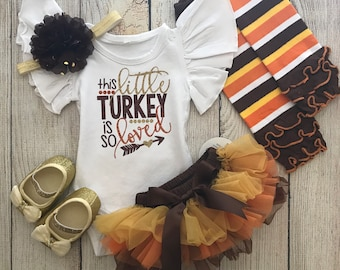 be7cd3a773 Baby Girl Thanksgiving Outfit - Toddler Thanksgiving - This Little Turkey  Is So Loved Outfit - Thanksgiving Onesie - Tutu Bloomers