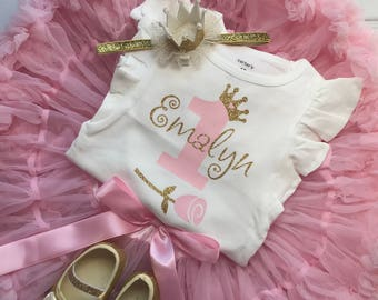 Girl First Birthday Outfit - Personalized Birthday Outfit - Cake Smash - 1st Birthday Photos
