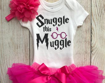 228afd37181 Snuggle This Muggle - Harry Potter Baby Girl Coming Home Outfit in Hot Pink  and Black - Baby Girl Harry Potter Outfit - Harry Potter Muggle