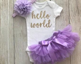 Bébé fille Coming Home tenue - Bonjour monde tenue de paillettes d'or et de lavande - Bonjour tout le monde - Tutu défaites - Photos nouveau-né