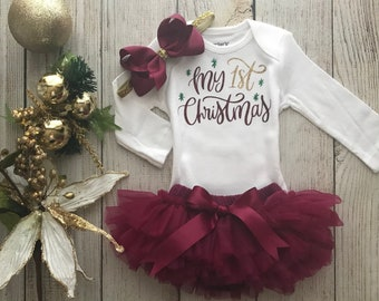 c85f350af2b My 1st Christmas Outfit in wine burgundy and Gold - My First Christmas - Christmas  Onesie - Baby Girl 1st Christmas - Christmas Photos