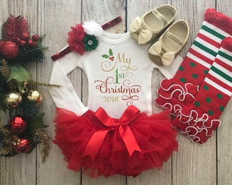 4b1b385207a Baby Girl First Christmas Outfit - My First Christmas - Red   Gold - Baby  Girl Christmas Onesie - Baby s 1st Christmas - Christmas Photos