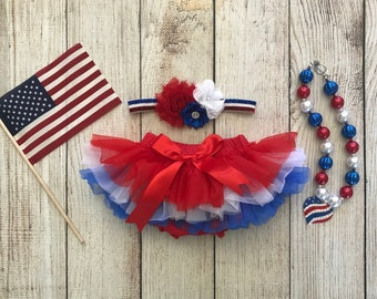 0e181bc3e9 Baby Girl 4th of July Cake Smash Set in Red White and Blue -Tutu Bloomers,  Headband and Chunky Bubblegum Necklace