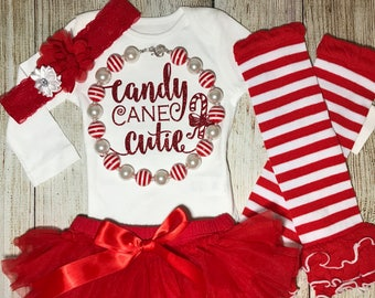 0db5b5d2eb42 Baby Girl Christmas Outfit - Candy Cane Cutie Outfit - Baby Girl Christmas  Onesie - Baby Christmas
