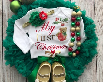 Baby Girl Christmas Outfit - My First Christmas - Baby Girl Christmas Photos - Baby's 1st Christmas