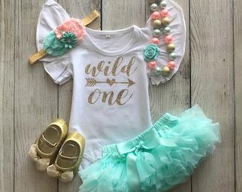 4f9abef340a2c Wild One Birthday Outfit - Wild One Girl - Wild One First Birthday Outfit -  Aqua Mint and Peach - Cake Smash - 1st Birthday Photos Birthay 1