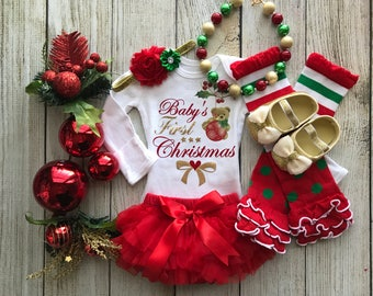 Baby Girl First Christmas Outfit - My First Christmas - Baby Girl Christmas Photos - Baby's 1st Christmas - Chunky Christmas Necklace