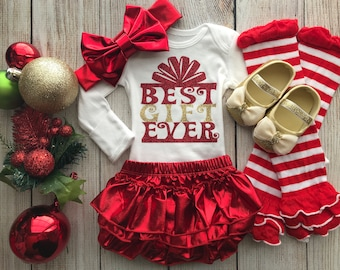 Best Gift Ever - Baby Girl Christmas Outfit - My First Christmas - Baby Girl Christmas Photos - Baby's 1st Christmas