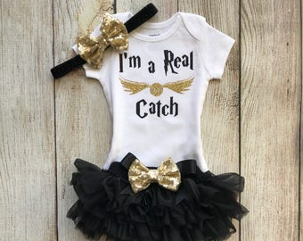 a47f7287e Harry Potter Inspired Baby Girl Outfit - I'm a Real Catch Harry Potter  Inspired - Baby Girl Harry Potter Inspired Outfit