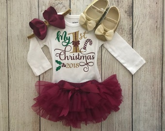 60995356fc50 Baby Girl Christmas Outfit in wine burgundy and Gold - My First Christmas -  Christmas Onesie - Baby s 1st Christmas - Christmas Photos