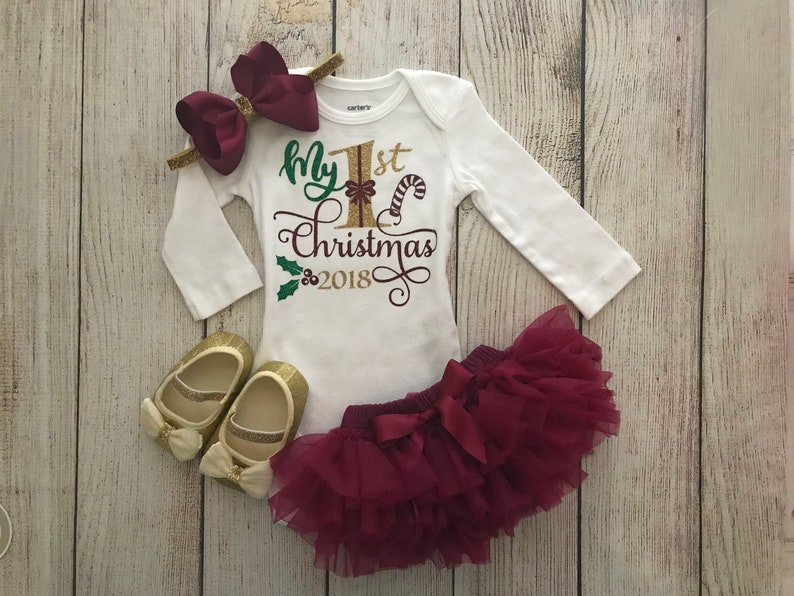 7bbf706e4b0 Baby Girl Christmas Outfit in wine burgundy and Gold My