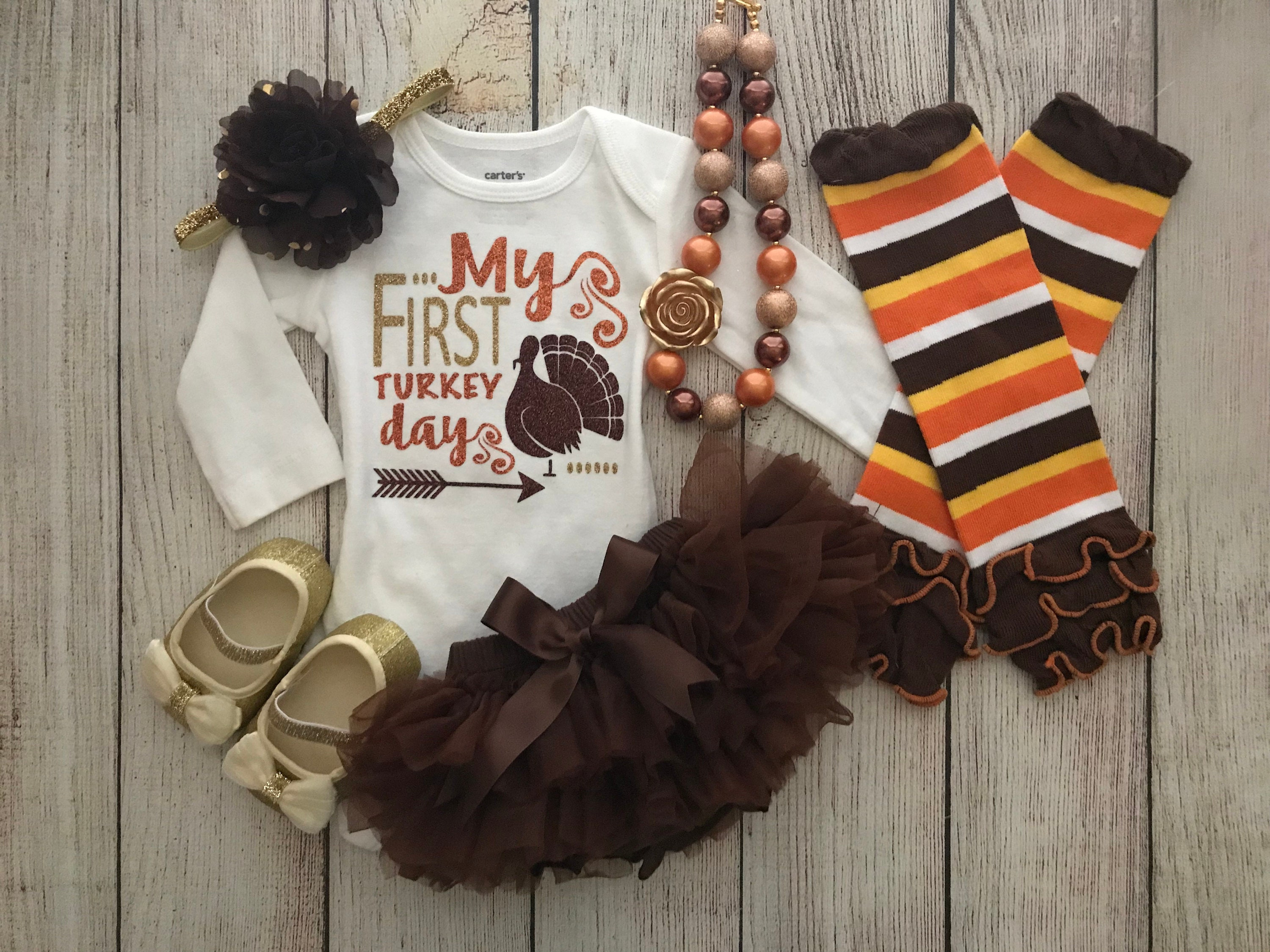 2233296aa Baby Girl Thanksgiving Outfit Glitter My First Turkey Day | Etsy
