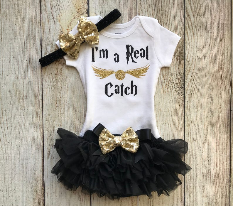 94451b1fbca3 Harry Potter Inspired Baby Girl Outfit Im a Real Catch | Etsy