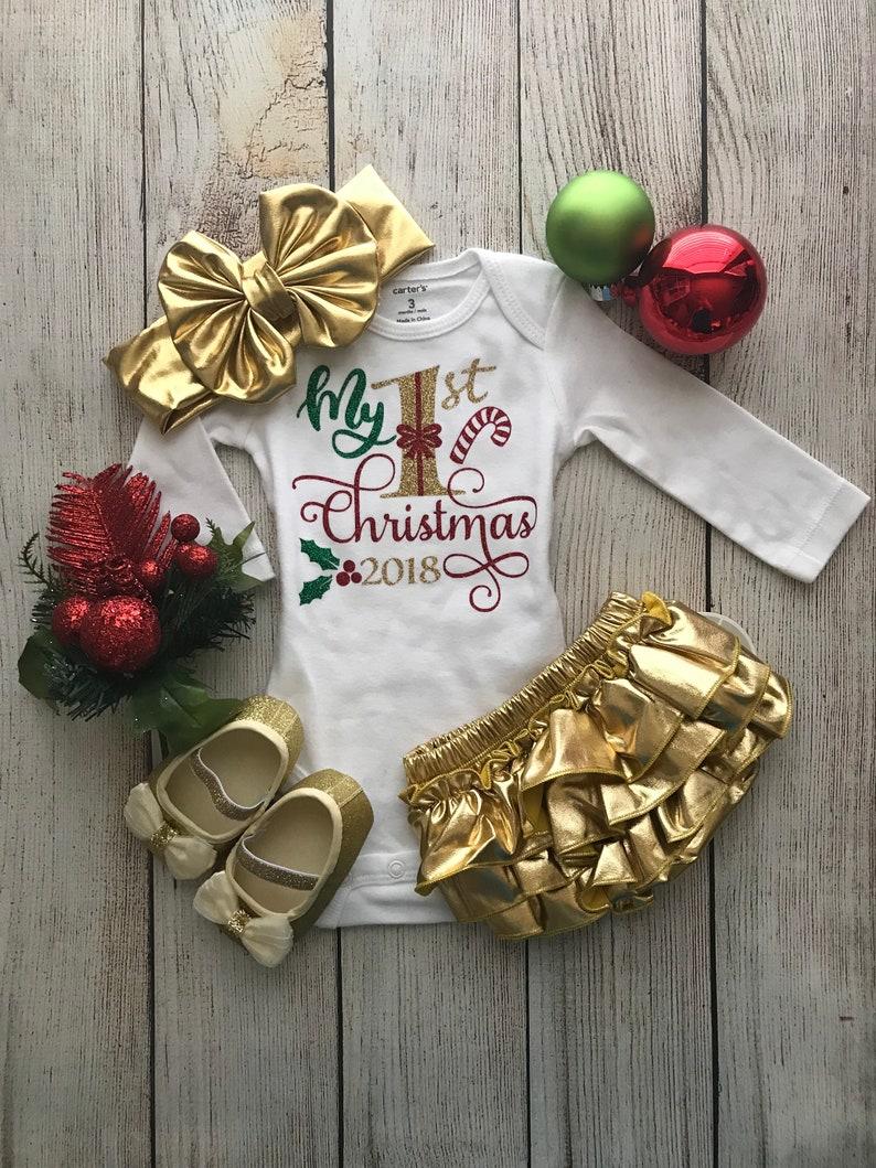c991827f252 Baby Girl Christmas Outfit My First Christmas Baby Girl
