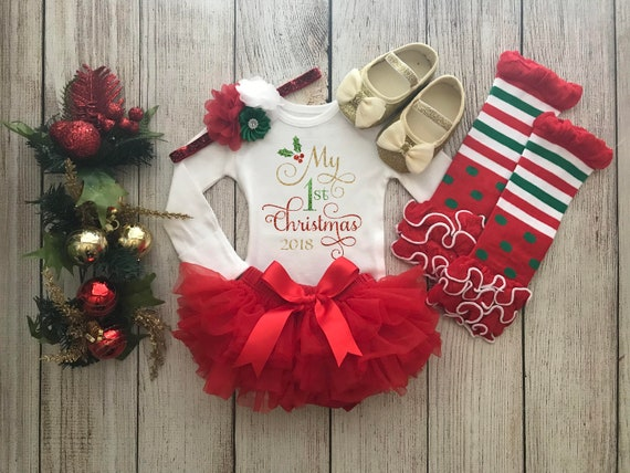 My First Christmas Baby Girl First Christmas Outfit Christmas Photos Red /& Gold Baby\u2019s 1st Christmas Baby Girl Christmas Onesie