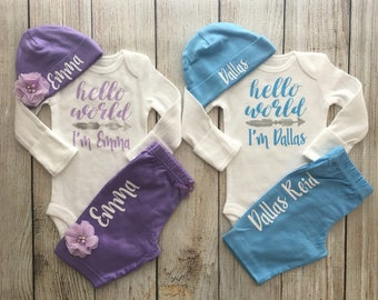 Personalized Boy Girl Twin Coming home outfit - Girl Boy Twin - Hello World Twin Outfits - Twin Coming Home outfit with hat and pants