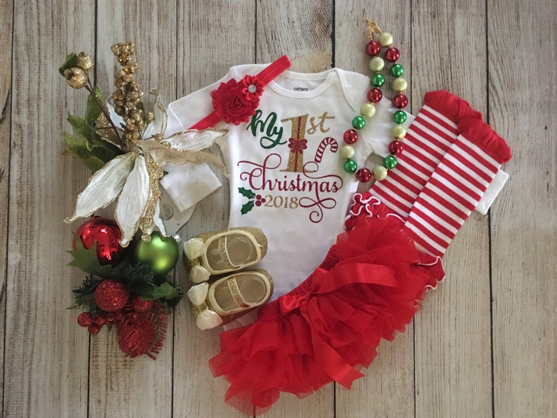 9b54e1dc40b Baby Girl First Christmas Outfit My First Christmas Red