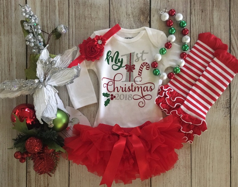 3d9cdc58243 Baby Girl Christmas Outfit My First Christmas 2018 Red