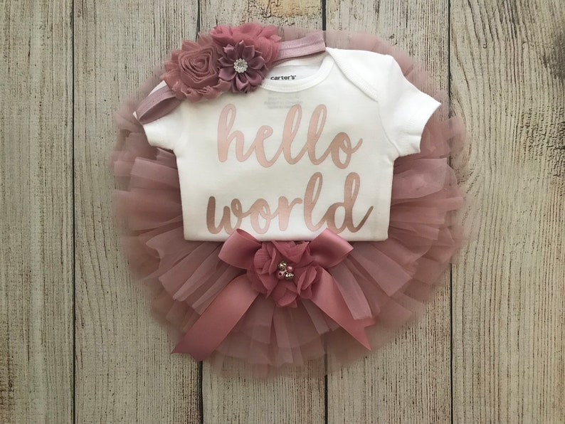 78df6f383 Baby Girl Coming Home Outfit Hello World Outfit in Rose Gold
