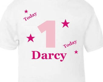 Personalised birthday T-shirt girl or boy any name ages up to 6 years
