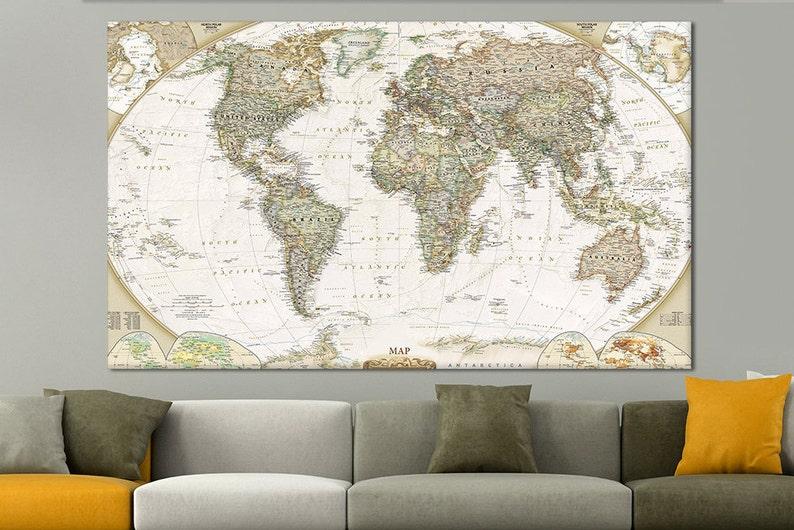 Personalized push canvas print pin travel map World travel | Etsy