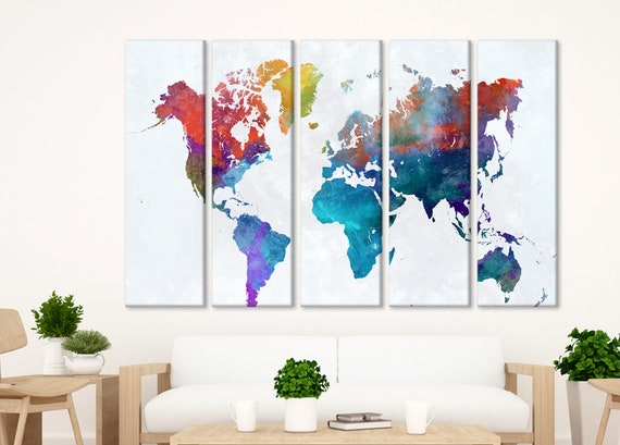 Watercolor world map World travel map Wall art canvas World | Etsy