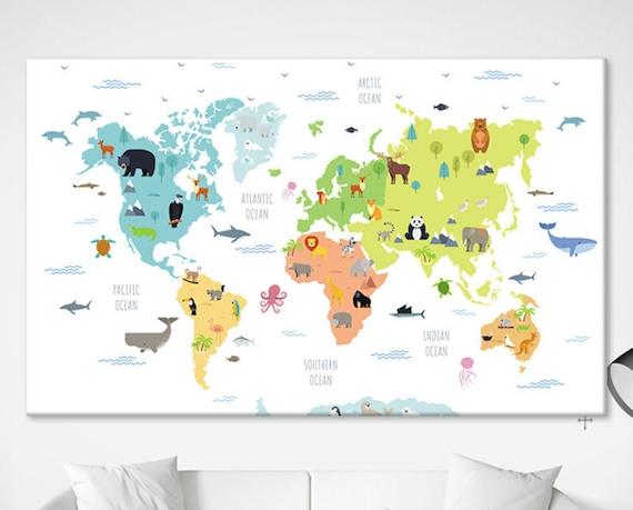 Animal Map Poster World Map Art Nursery Map Wall Art World Etsy