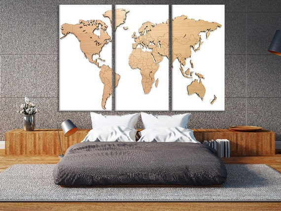 Wooden Map Giant Wood World Map Wooden World Map Wall Art Wood Etsy