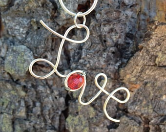 Hand Bent Wire Love Necklace